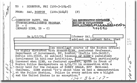 Howard Zinn's FBI File