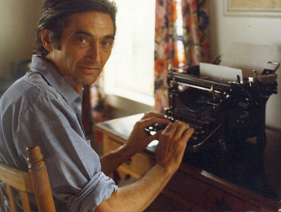 Howard Zinn at his typerwriter • Estate of Howard Zinn • Late 1970s