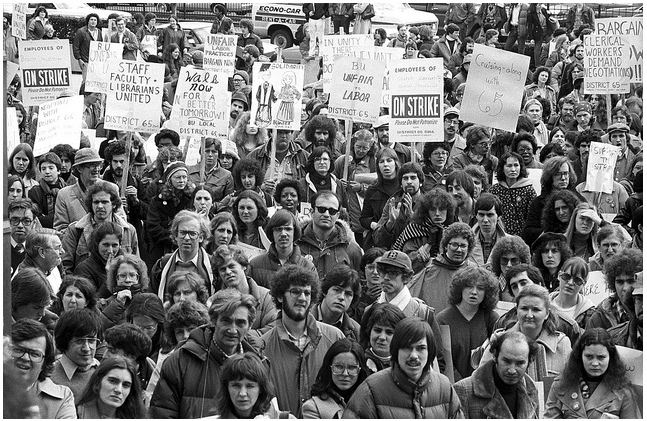 Boston University staff/faculty strike, 1979. Image: Boston Public Library, photographer Spencer Grant.