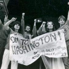 CIA protesters with banner, By Charles Carroll, April 1987 | HowardZinn.org